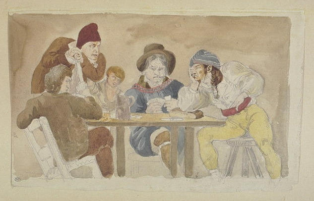 Joueurs de cartes attablés à l'auberge, Eugène Delacroix (1798-1863)